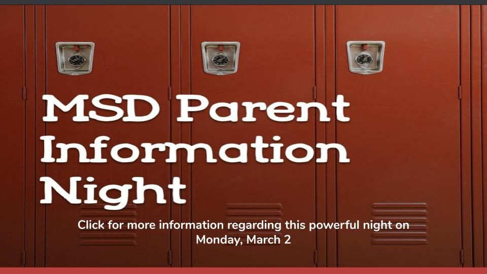 MSD Parent Information Night - Monday, March 2, 2020