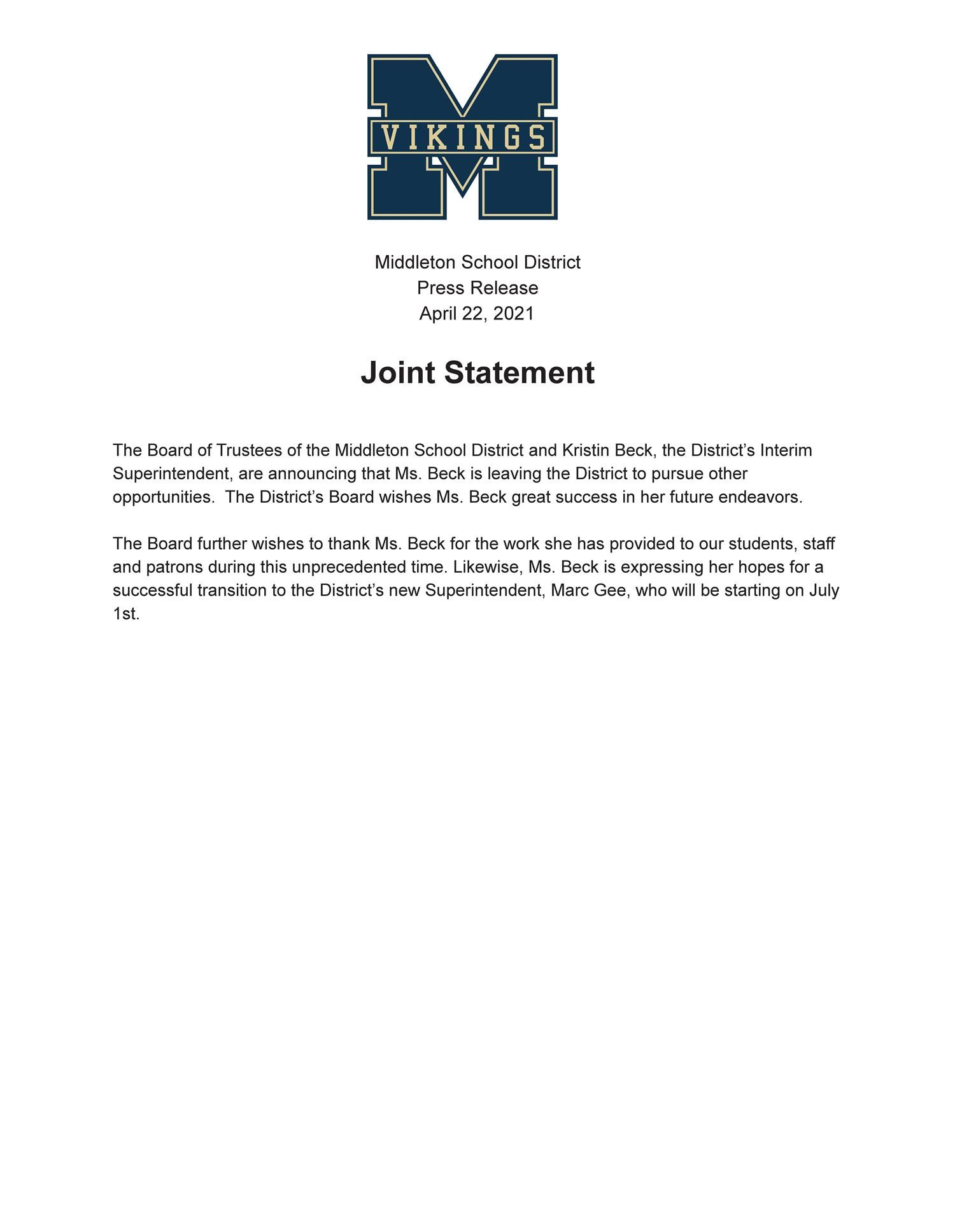 image of the press release with text in this file