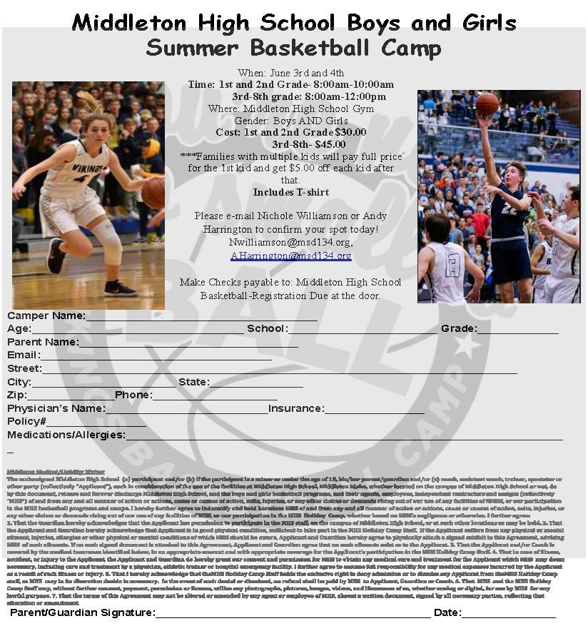 Middleton High School Boys and Girls Summer Basketball Kids Camp